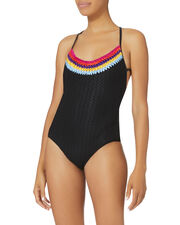 Rainbow Crochet-Trimmed Black One Piece Swimsuit, BLACK, hi-res