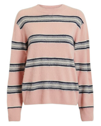 Salene Striped Cashmere Sweater, PINK/GREY, hi-res