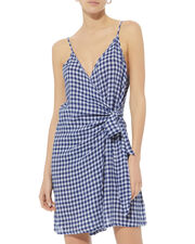 Malia Gingham Wrap Dress, MULTI, hi-res