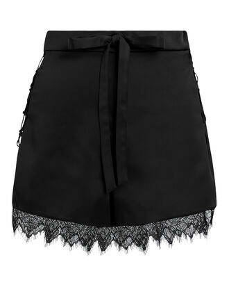 Black Lace Trim Shorts, BLACK, hi-res