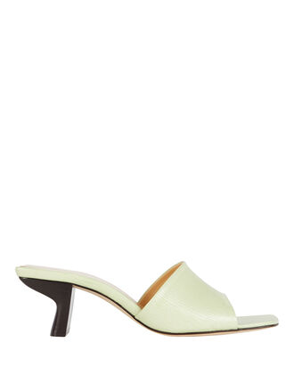 Lily Leather Slide Sandals, GREEN-LT, hi-res