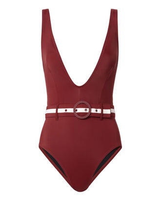 Victoria Belted Deep-V One Piece Swimsuit, RED, hi-res