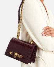 Mini Jewelled Leather Satchel, RED-DRK, hi-res