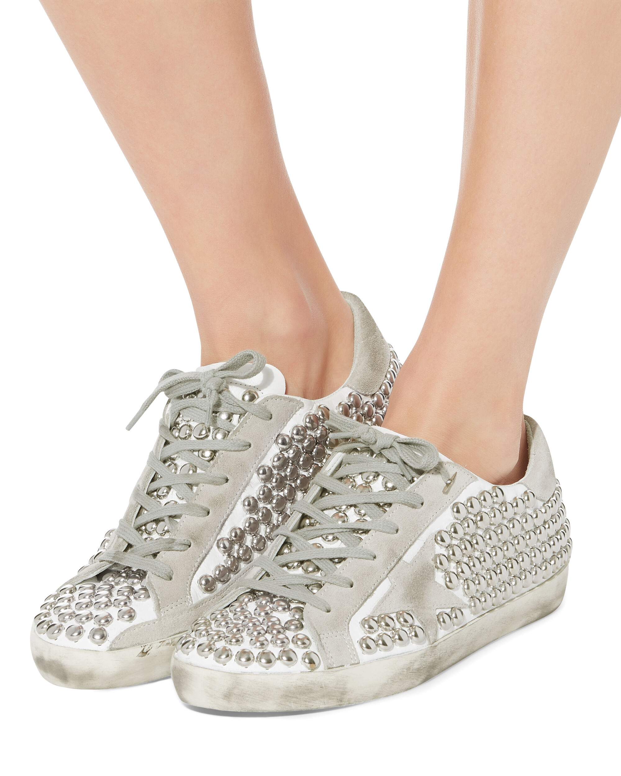 Superstar Silver Studded Low-Top Sneakers, WHITE, hi-res