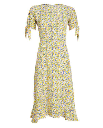 Emilia Floral Crepe Dress, YELLOW/BLUE FLORAL, hi-res