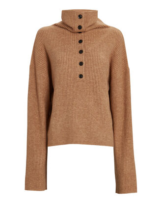 Aspen Half-Button Sweater, BROWN, hi-res