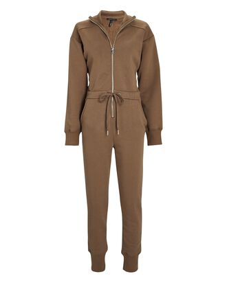Red-Eye French Terry Jumpsuit, BROWN, hi-res