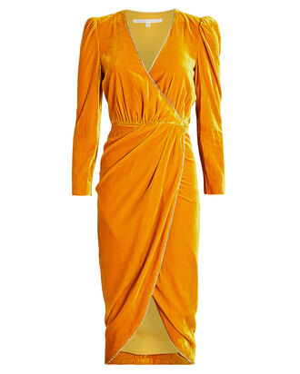 Anthea Velvet Wrap Dress, MARIGOLD, hi-res