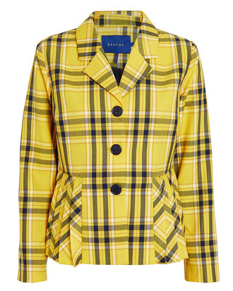 Marie Yellow Check Blazer, YELLOW/BLACK, hi-res