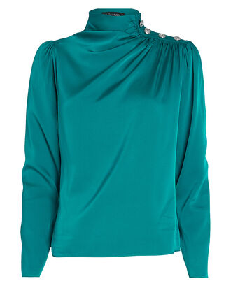 Monica Draped Silk Blouse, TEAL, hi-res