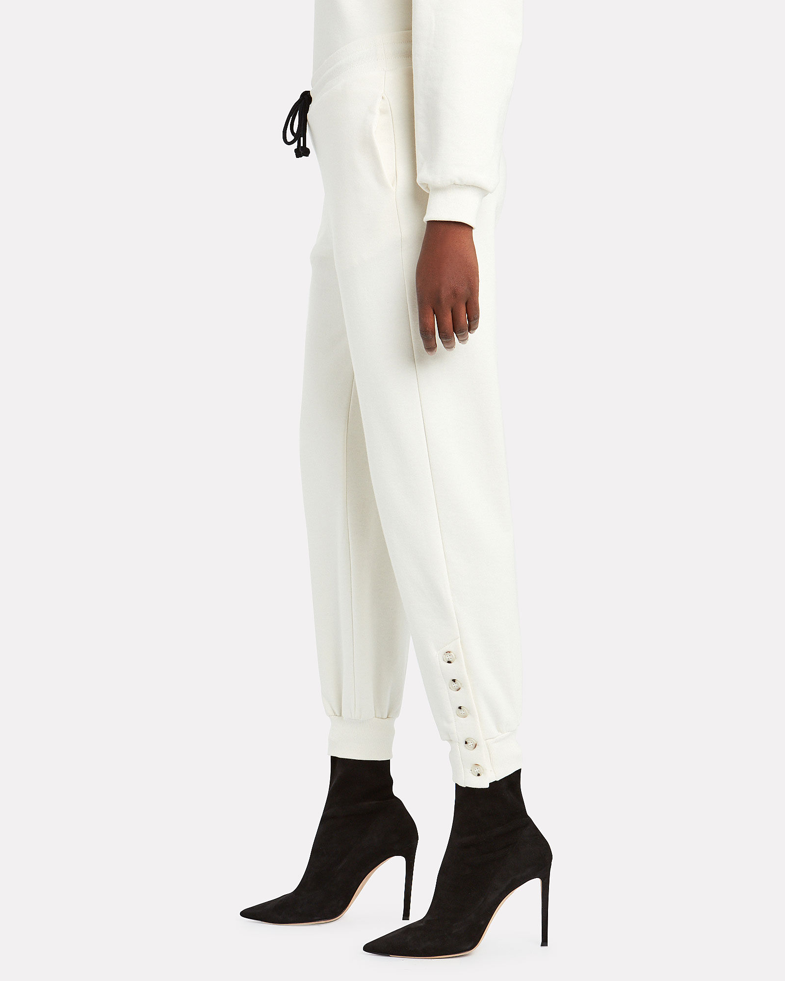 Double Waistband Terry Joggers, WHITE, hi-res