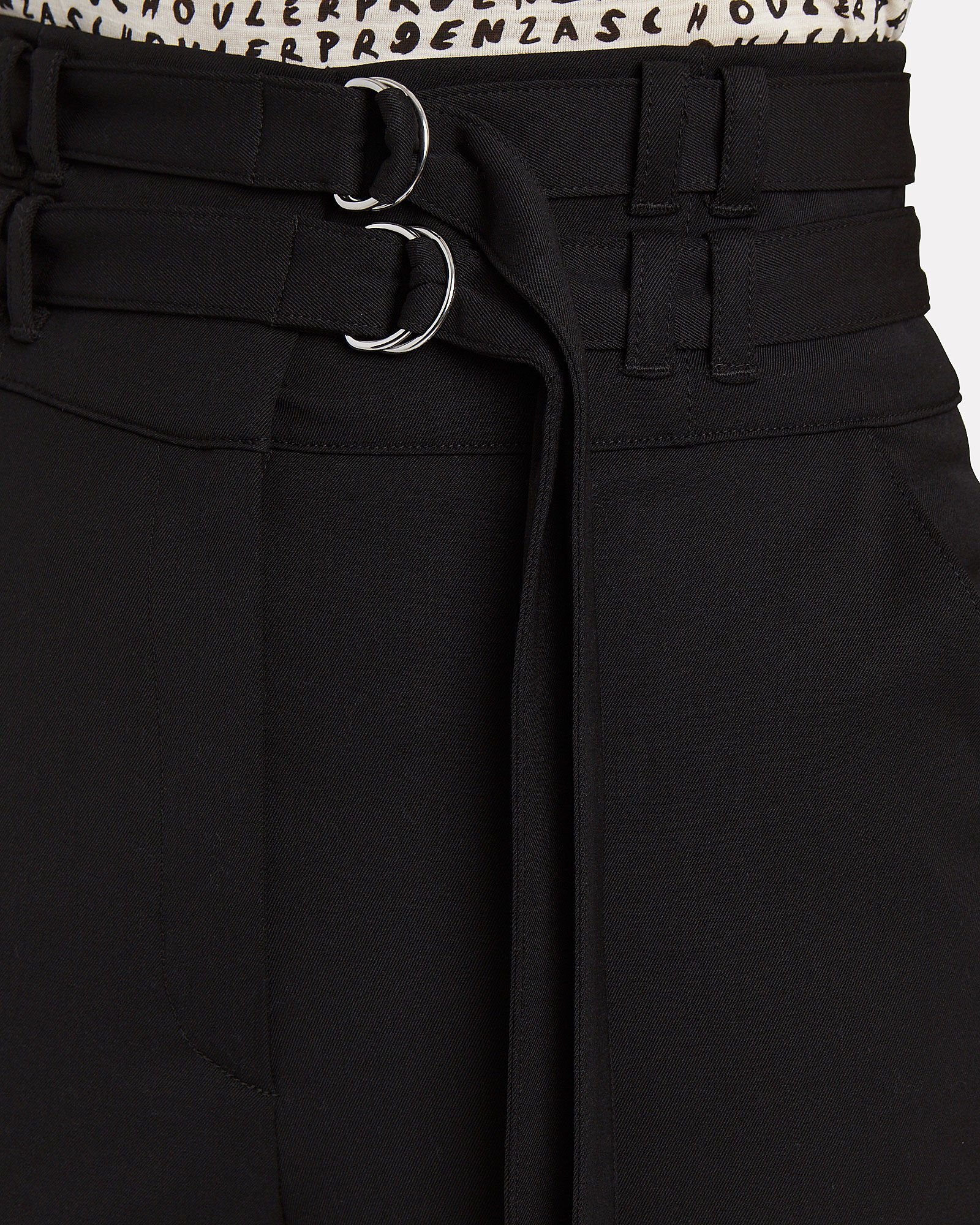 Double Belted Wool Pants, BLACK, hi-res