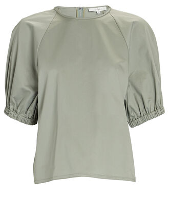 Eco Poplin Puff Sleeve Top, PALE OLIVE, hi-res