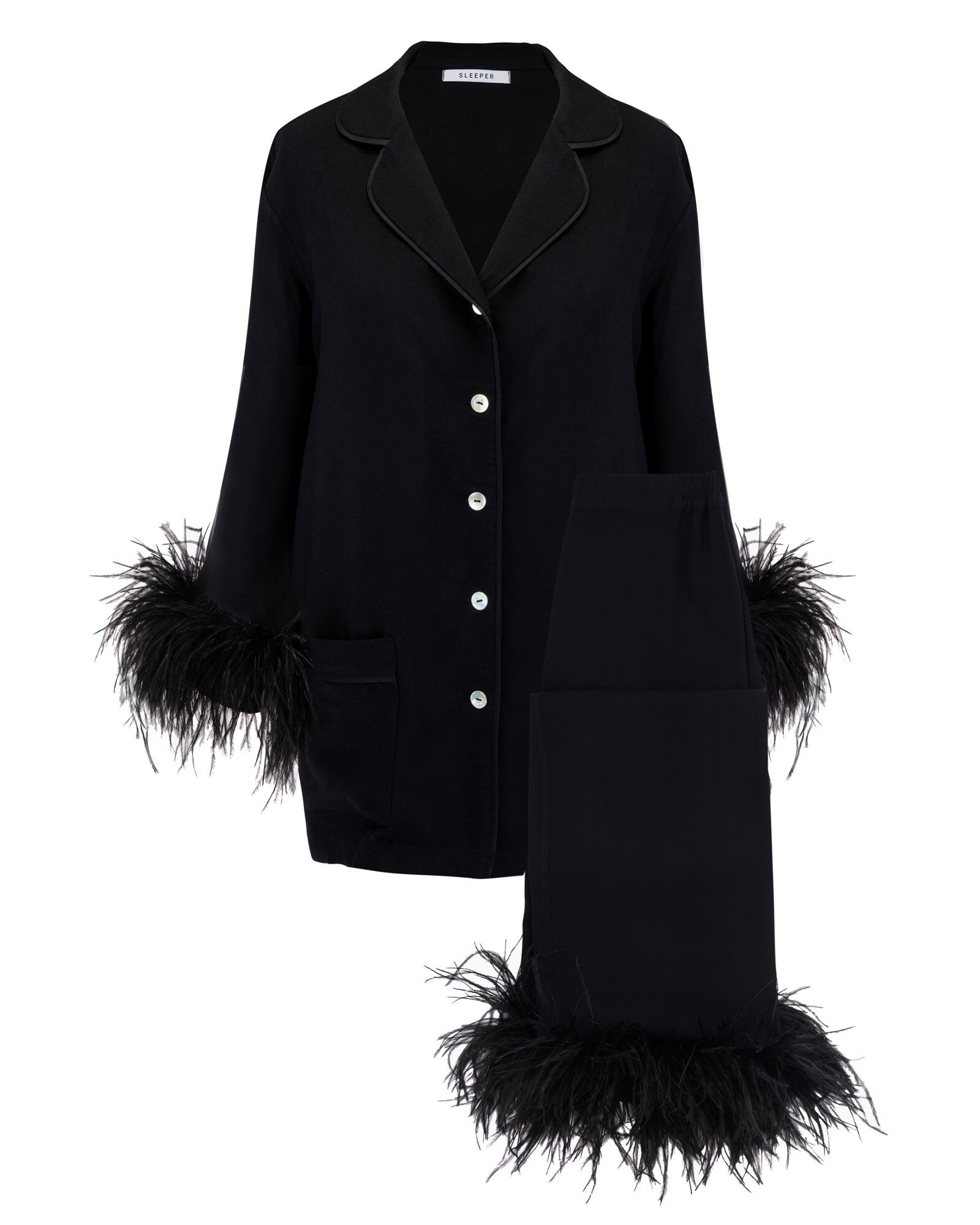 Feather-Trimmed Party Pajama Set, BLACK, hi-res