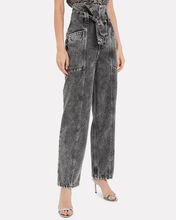 Vyola Paperbag Waist Denim Trousers, BLACK, hi-res