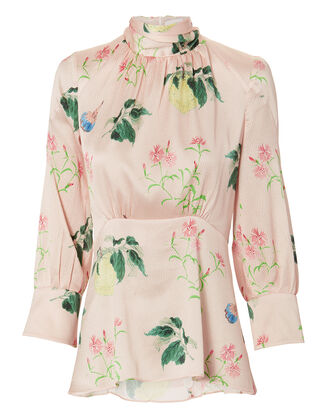 Floral High Neck Blouse, PINK, hi-res