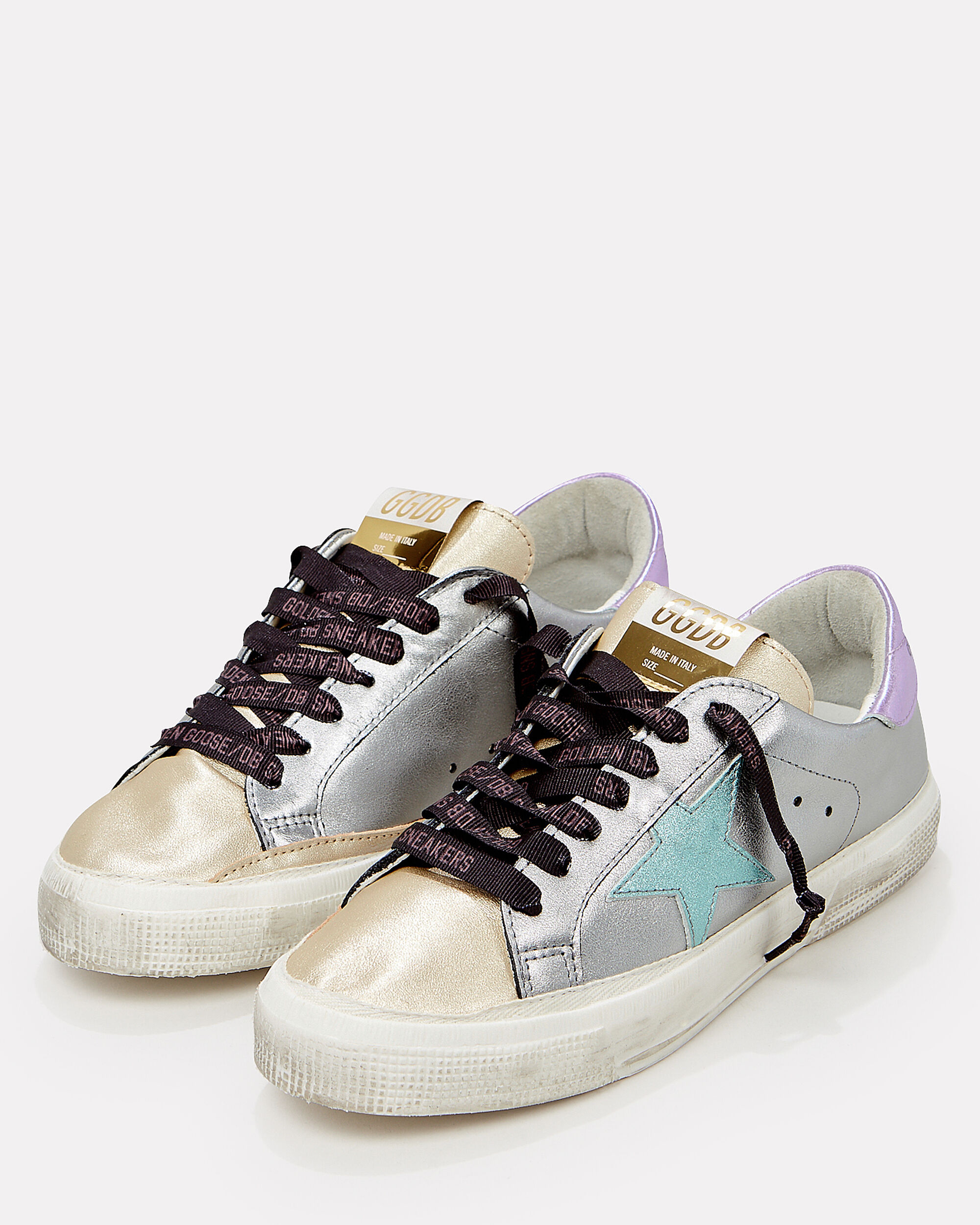 May Colorblock Low-Top Sneakers, GOLD/SILVER/PURPLE, hi-res