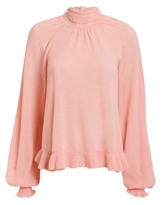 Clover Tie Neck Sweater, PINK, hi-res