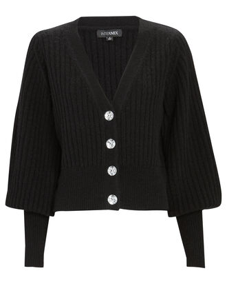 Ella Jewel Button Cardigan, BLACK, hi-res
