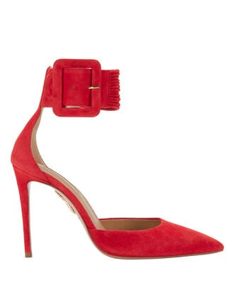 Red Ankle Strap Suede Pumps, RED, hi-res