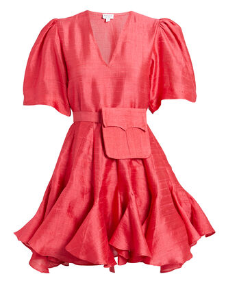 Vivienne Belted Mini Dress, RED, hi-res