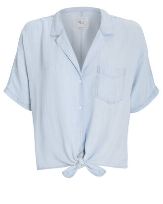 Holly Chambray Tie Front Top, LIGHT BLUE, hi-res