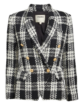 Kenzie Double-Breasted Tweed Blazer, BLACK/WHITE, hi-res