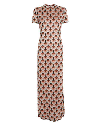 Printed Lurex Maxi Dress, METALLIC/PRINT, hi-res