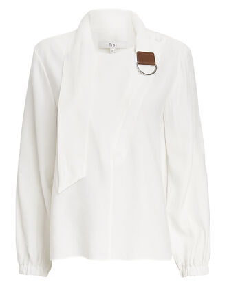 Asymmetric Tie Collar Top, WHITE, hi-res