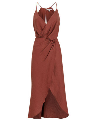 Tanika Sleeveless Wrap Dress, TERRACOTTA, hi-res