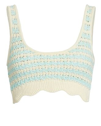 Lizzy Cropped Knit Tank Top, CREAM/LIGHT GREEN, hi-res