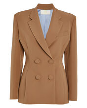 Double-Breasted Crepe Blazer, CAMEL, hi-res