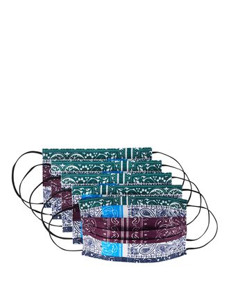 Bandana Disposable Face Mask 5-Pack, GREEN/WHITE/PURPLE, hi-res