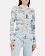 Elsi Printed Turtleneck Top, WHITE/BLUE, hi-res