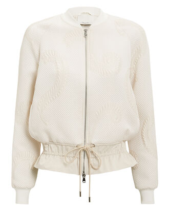 Cloque Jacquard Bomber Jacket, BLUSH, hi-res