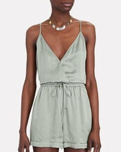 Sleeveless Satin Wrap Romper, PALE GREEN, hi-res