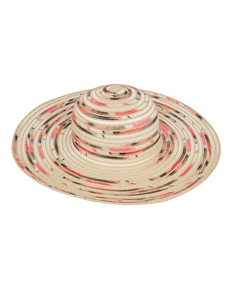 Honey Contrast Woven Straw Hat, TAN/MULTI, hi-res