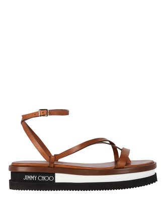 Pine Logo Platform Flat Sandals, BROWN, hi-res