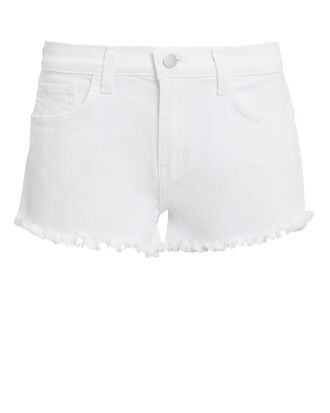 Zoe White Cutoff Denim Shorts, WHITE DENIM, hi-res