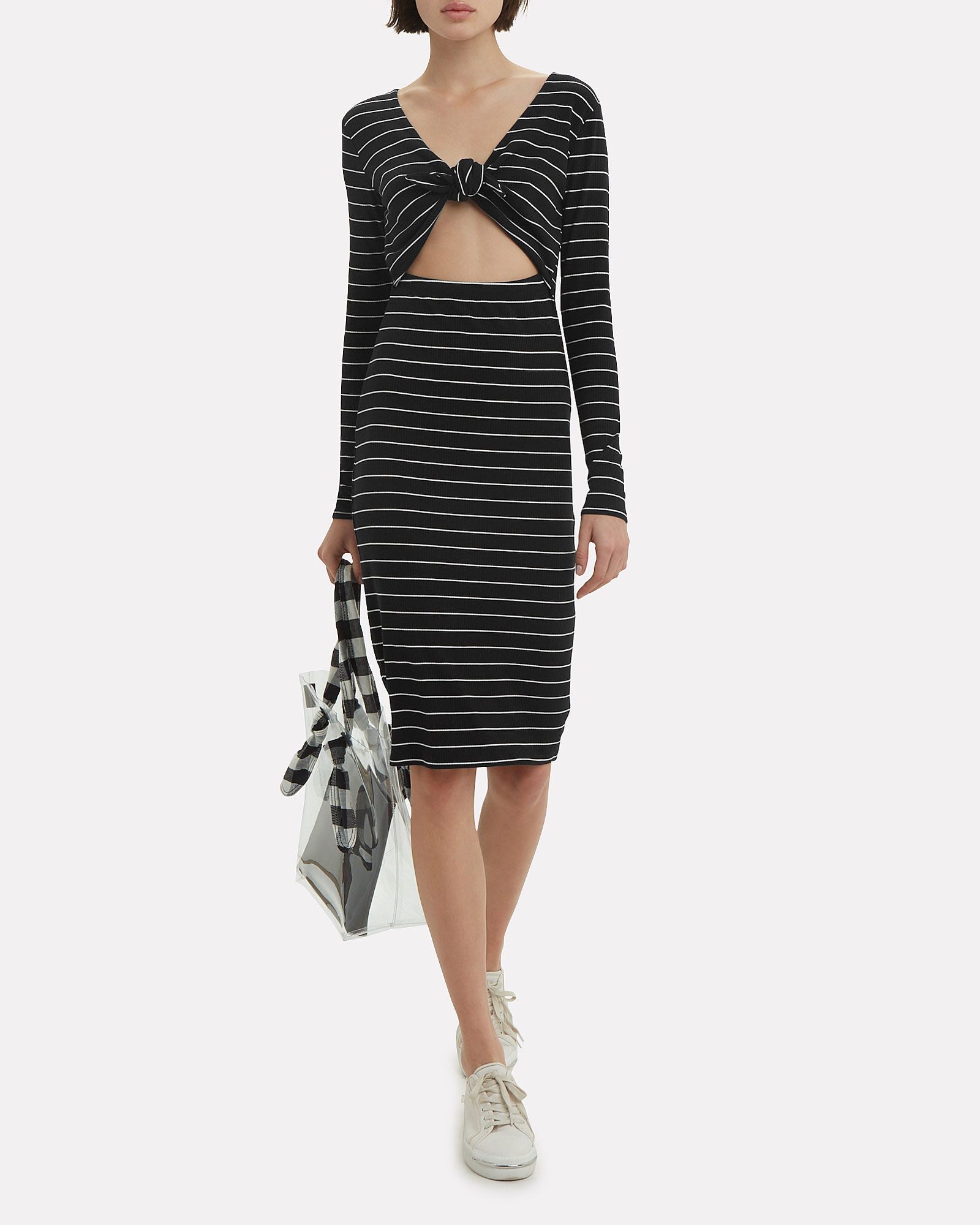 Lila Striped Dress, BLACK/WHITE, hi-res