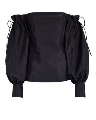 Off-The-Shoulder Taffeta Blouse, BLACK, hi-res