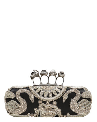 Four Rings Embellished Clutch, BLACK, hi-res