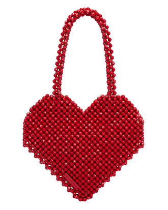 Maria Beaded Heart Bag, RED, hi-res