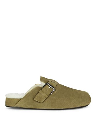 Mirvin Suede Shearling-Lined Clogs, OLIVE/ARMY, hi-res