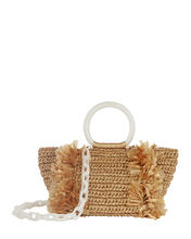 Corallina Fringed Straw Tote, GOLD, hi-res