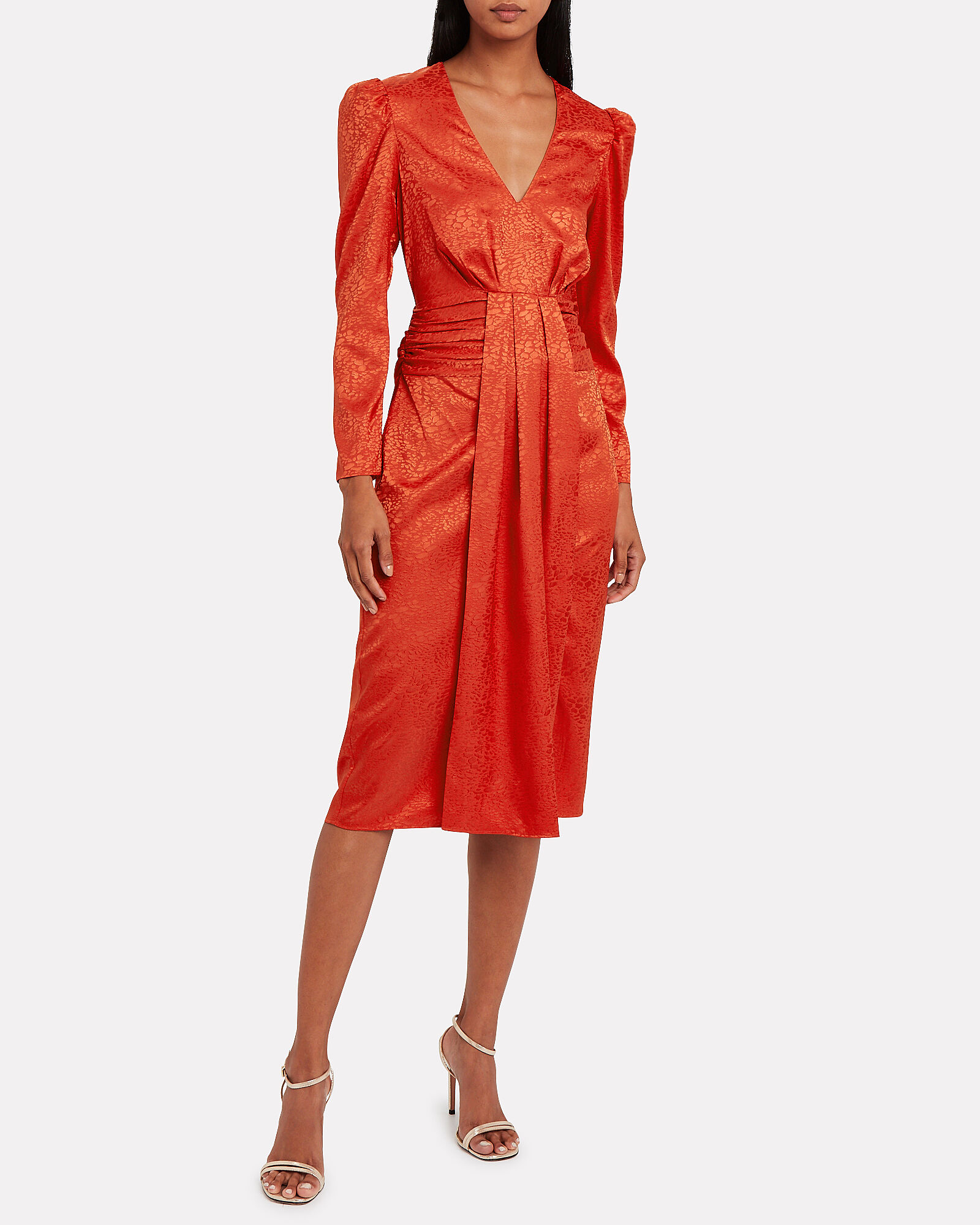 Farrow Satin Jacquard Dress, RED, hi-res