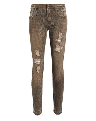 Kate Distressed Leopard Skinny Jeans, BROWN/LEOPARD, hi-res