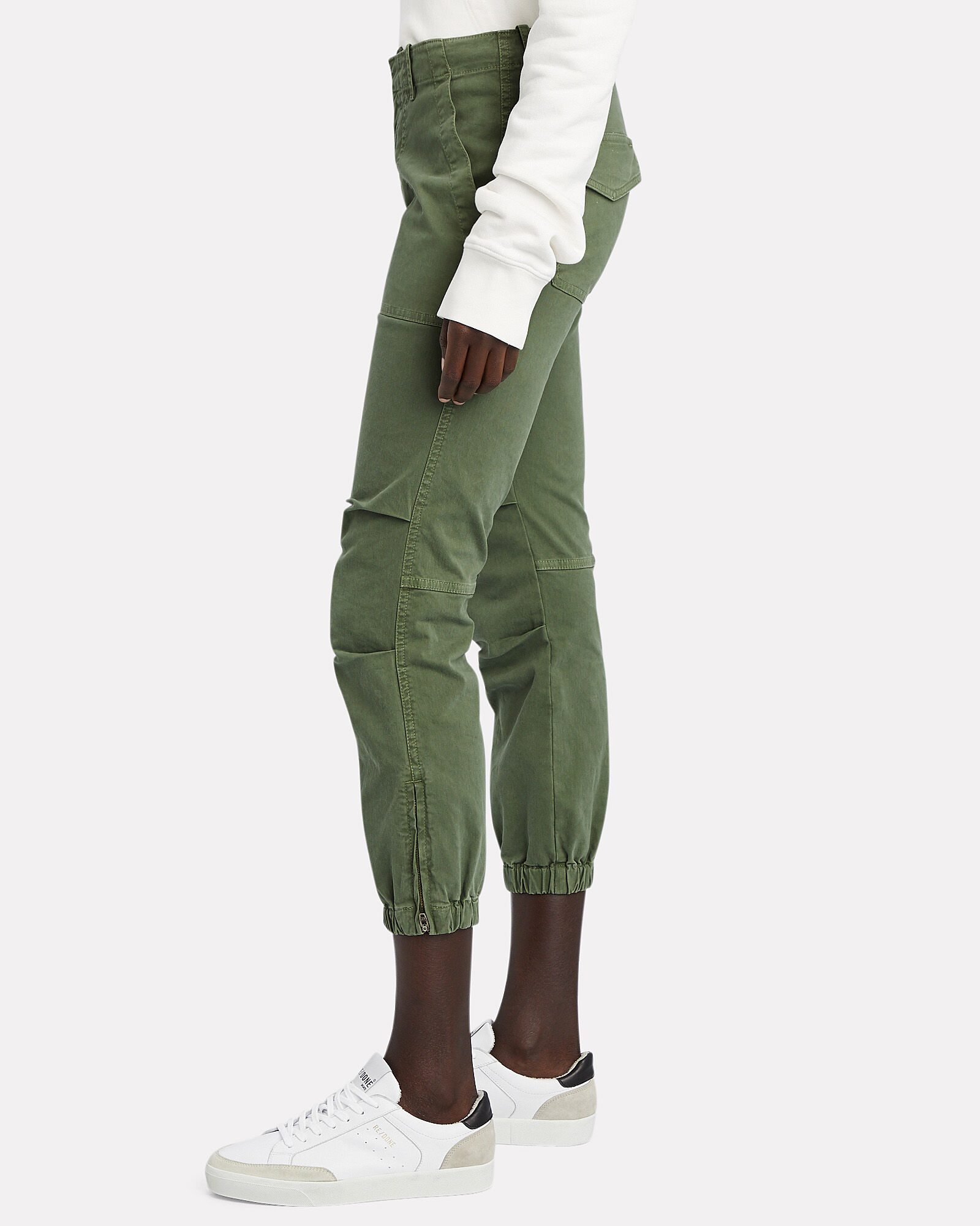 Cropped French Military Pants, OLIVE, hi-res