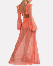 Mesh Cut-Out Maxi Dress, CORAL, hi-res