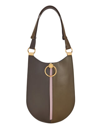 Earring Colorblock Oval Shoulder Bag, TAUPE/GREY, hi-res